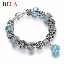 European Authentic Fine BEADS jewelry silver plated owl beads pink/white crystal Charm bracelets for women Original DIY Jewelry