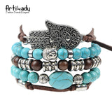 Artilady new hamsa hand 5pcs set leather bracelets boho turquoise bracelet set for statement  women jewelry party gift