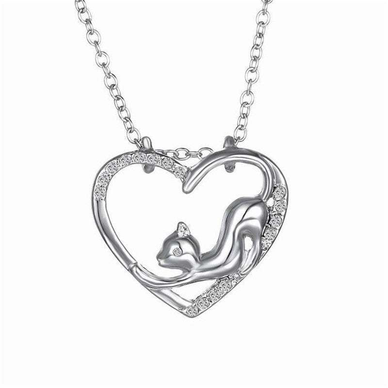 Hollow Cuddly Cat Silver Love Necklace
