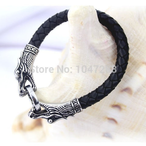 3 Size Leather Tibetan Silver Men Bracelet Titanium Fashion Vintage Jewelry Accessories Parataxis Dragon Bracelet Men Jewelry