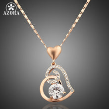 Rose Gold Plated Stellux Crystals Heart Pendant Necklace for Valentine's Day Gift of Love