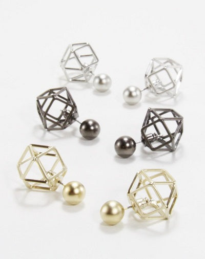 Cella hexa - sphere earrings