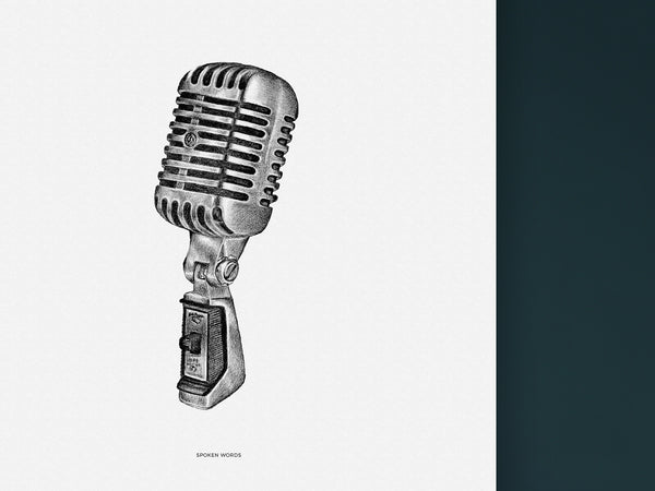 Spoken Words - Black and white art print of a retro microphone by Hanna Candell
