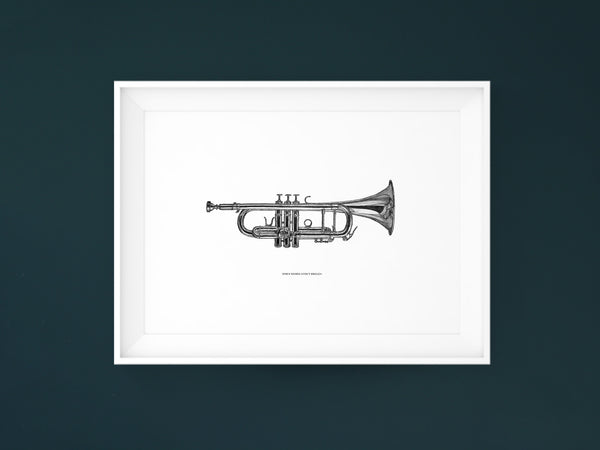 When words aren't enough - Black and white art print of a trumpet by Hanna Candell