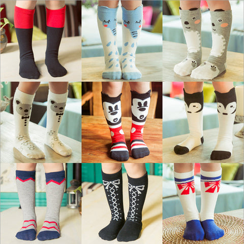 1pair Cartoon Fashion Design Kids Knee High Socks  0- 6 Years Old
