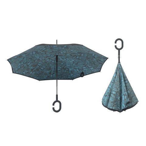 Windproof Reverse Folding Double Layer Inverted Umbrella/ Self Standing Inside