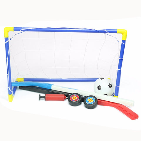 2 in 1 Outdoor/Indoor Kids Soccer & Ice Hockey Goal with Ball, Pump, Sticks and Pucks/ Free Shipping