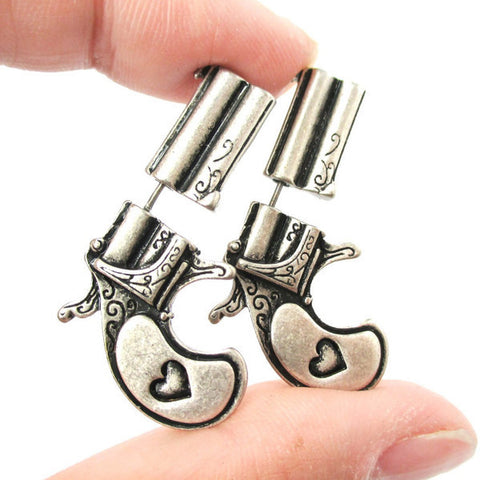 HOT NEW Double Pistol Gun Shaped  Earrings