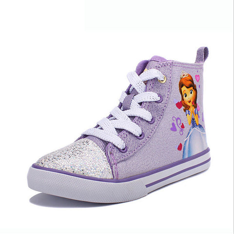 Lace Up High Top Sequin Cartoon Sneakers With Side Zipper