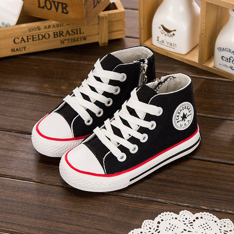 Kids High Top Canvas Sneakers Lace Up With Side Zipper
