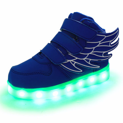 LED light up shoes/sneakers with wings /rechargeable