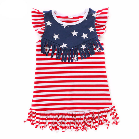 Girls 4th Of July American Flag Tassel Dress