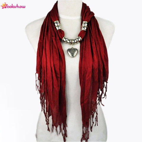 Womens Scarf necklace with Silver Jewelry Heart and Beads  pendant