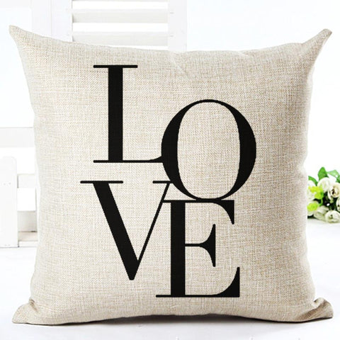 Black And White Style Decorative Simple Word Style Printed Throw Pillow/ Free Shipping