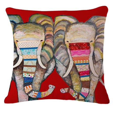 Colorful Choices Of Exquisite Elephant Prints On Modern Linen Decorative Throw Pillow / Free Shipping