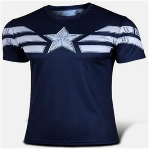 Mens Quick Dry Fitness T-shirt Superhero Style/ FREE Shipping