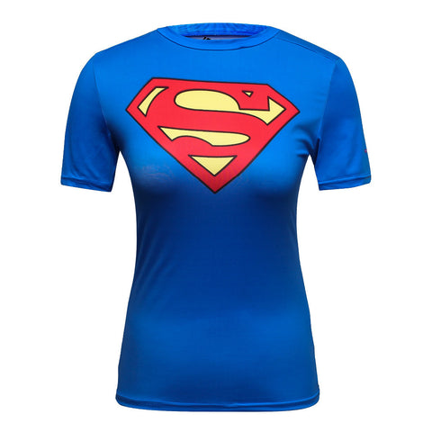 Super hero short sleeve quick dry crossfit womens compression shirt/ Free Shipping