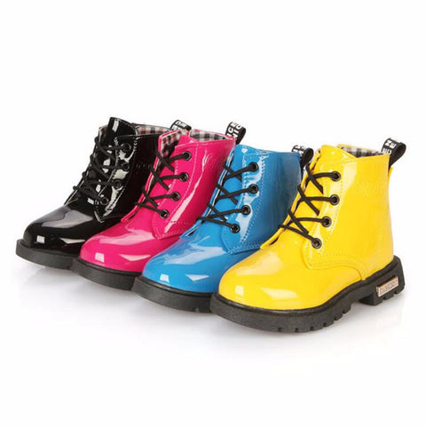 Quality Children's Lace Up High Top Rain Boots With Side Zipper