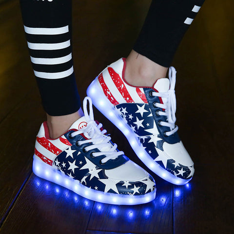 Adult Light Up Led Luminous Shoes /Sneakers American flag style