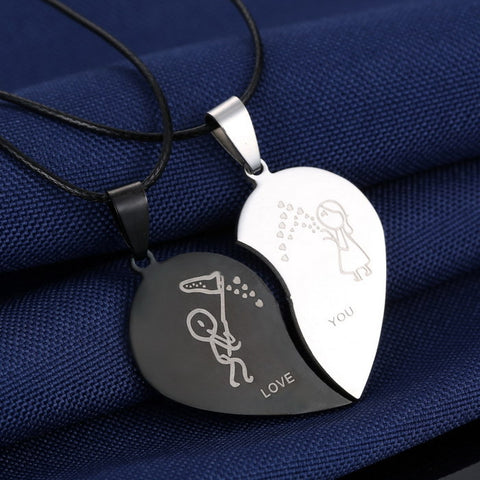 Couples Heart Stainless Steel Engraved Love You Necklaces with Black Cord