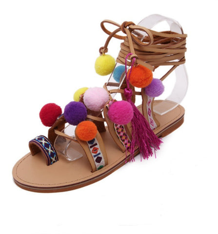 Pom Pom Gladiator Style Sandals With Embroidery and Tassels