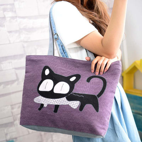 Cartoon Cat Canvas Shoulder Tote