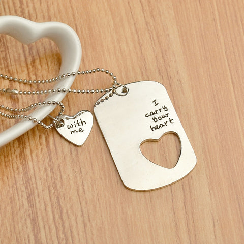 Dog Tag Lovers Heart Pendants Silver Chain Puzzle
