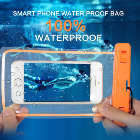 Phone case that is waterproof, luminous, transparent, and touchable for Iphone, Samsung or any other phone 6 inches or less
