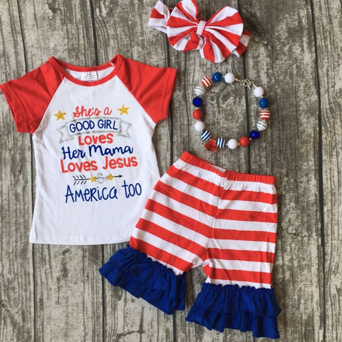 Girls July 4th outfit with accessories