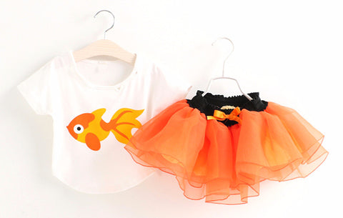 Girls Short Sleeve Goldfish Design Top and Tutu Skirt