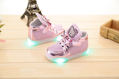 Adorable Kitty Flashing Shoes With Bling!