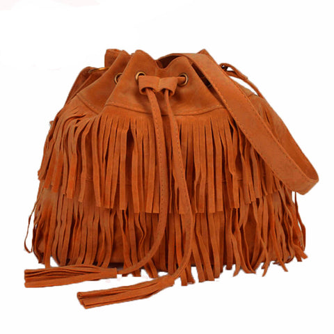 Women Suede Fringe Tassel Purse