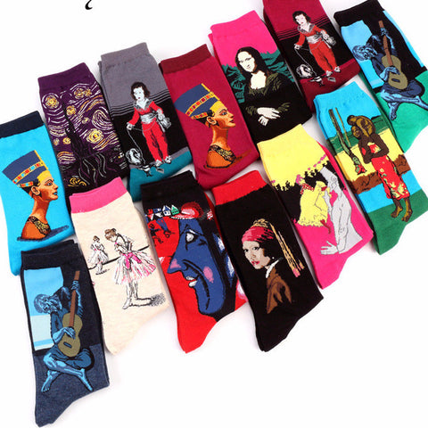 Retro Art Oil Painting  Cotton Socks