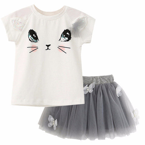 2Pcs Girls Cartoon Cat T-Shirt And Tutu Skirt With Butterflies