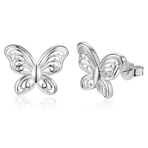 Adorable retro style silver butterfly earrings, super sweet style