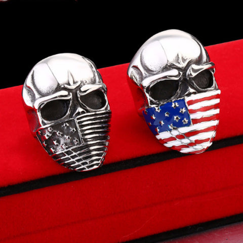 Stainless Steel Skull Ring With American Flag Mask