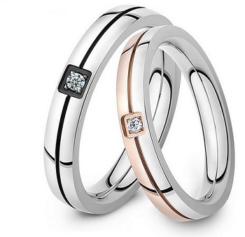 Stainless Steel Couple Ring w/ Crystal - KD Connection Official Merchandise Store