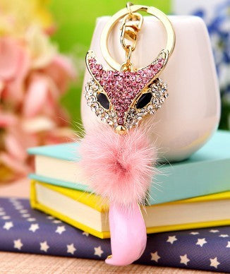 Fuzzy Sparkly Mr Fox Keychain - KD Connection Official Merchandise Store