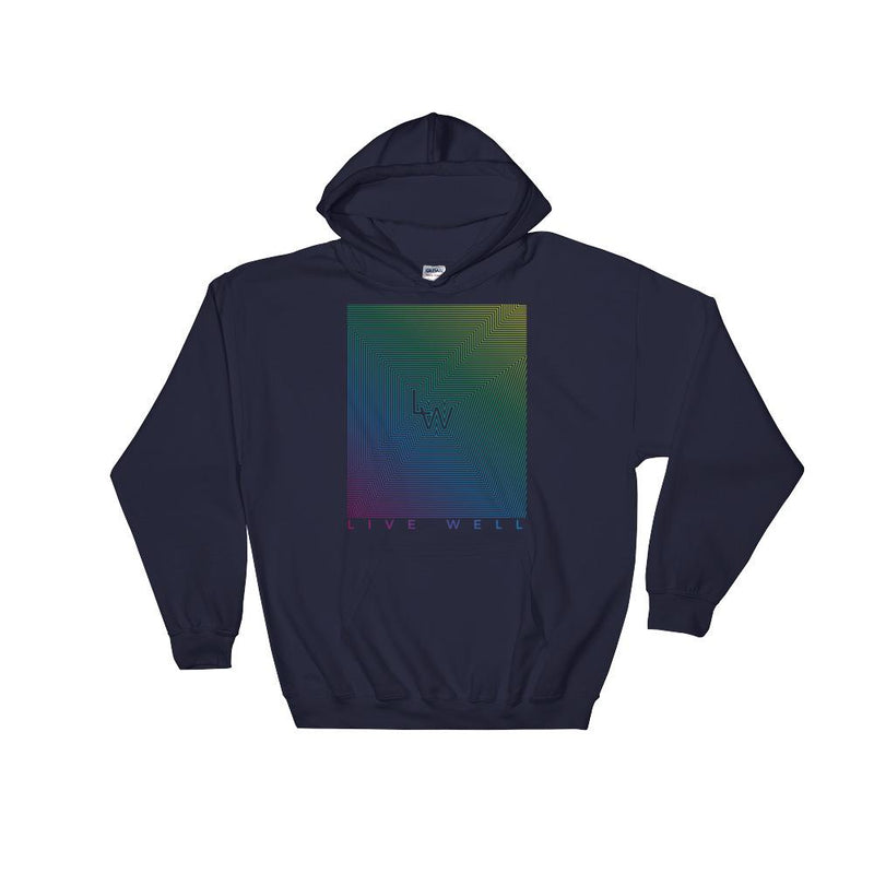 """Live Well"" Color Grid Hooded Sweatshirt"
