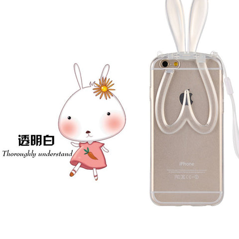 Rabbit Ears Lanyard Back Stand iPhone 6/6s Phone Case - KD Connection Official Merchandise Store