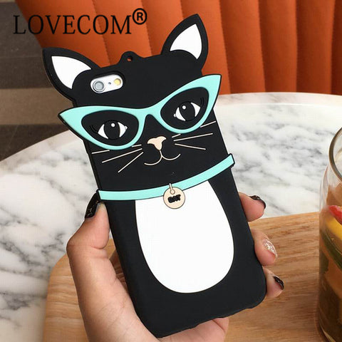 Cartoon Black Cat w/ Sunglasses for iPhone Phone Case - KD Connection Official Merchandise Store