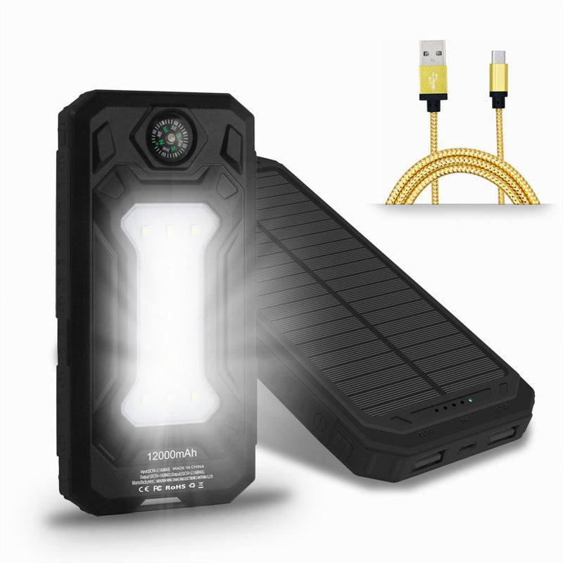 Solar Power Bank 12000mAh Portable Charger - KD Connection Official Merchandise Store