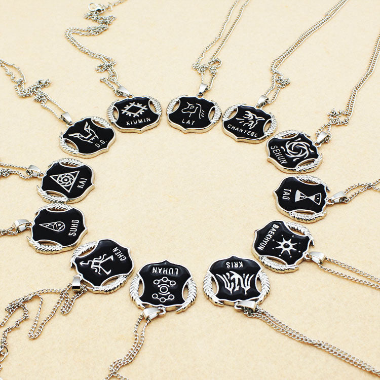 EXO Member Black Metal Chain Necklace