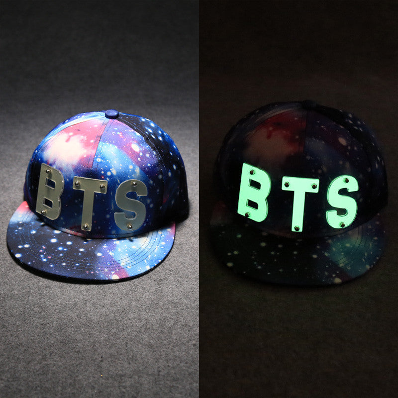 bts glow in the dark letters galaxy baseball hat k drama connection