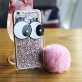 "The ""Pop"" Glittery Cartoon Eyes with Furry Charm iPhone Case"