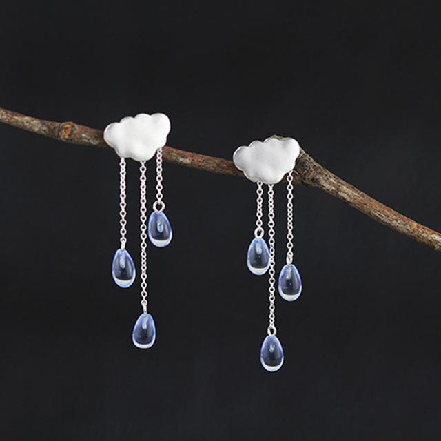 "BTS ""Rain"" Sterling Silver Dangle Earrings - KD Connection Official Merchandise Store"