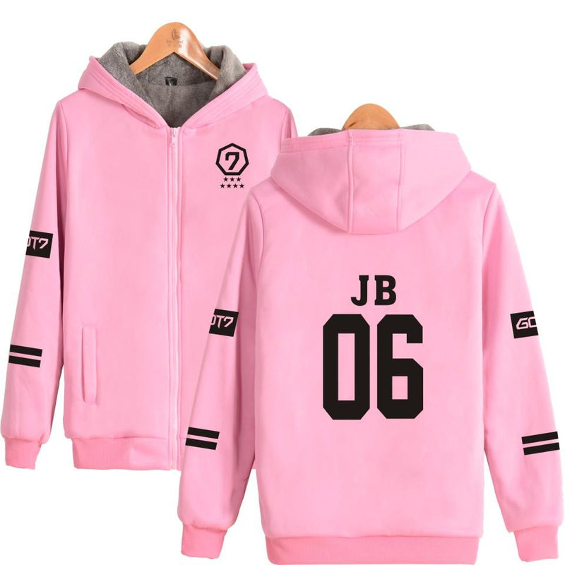 Got7 Member Pink Heavy Comfy Zip Up Hoodie - KD Connection Official Merchandise Store