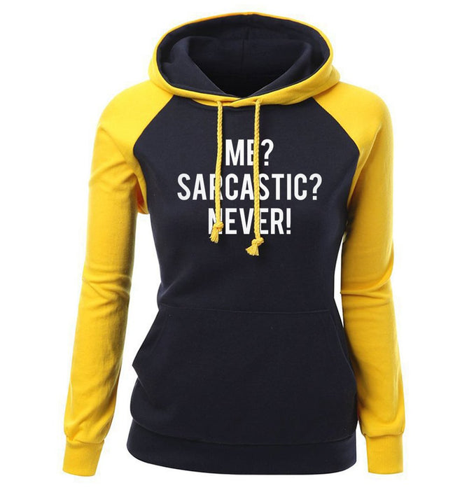 """Me? Sarcastic? Never!"" Women's Comfy Pullover Hoodie - KD Connection Official Merchandise Store"