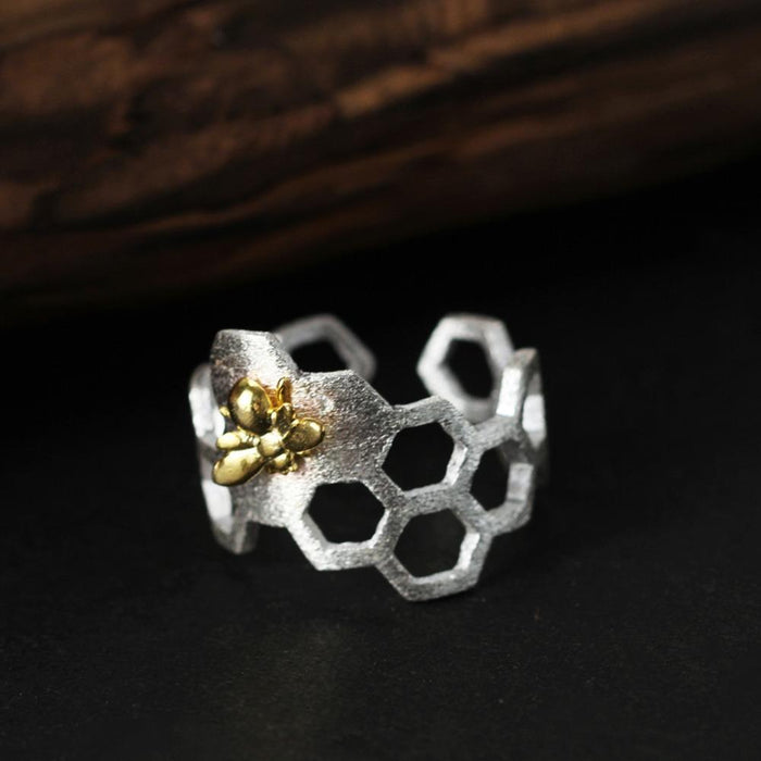 Honeycomb Bee Silver Ring - KD Connection Official Merchandise Store