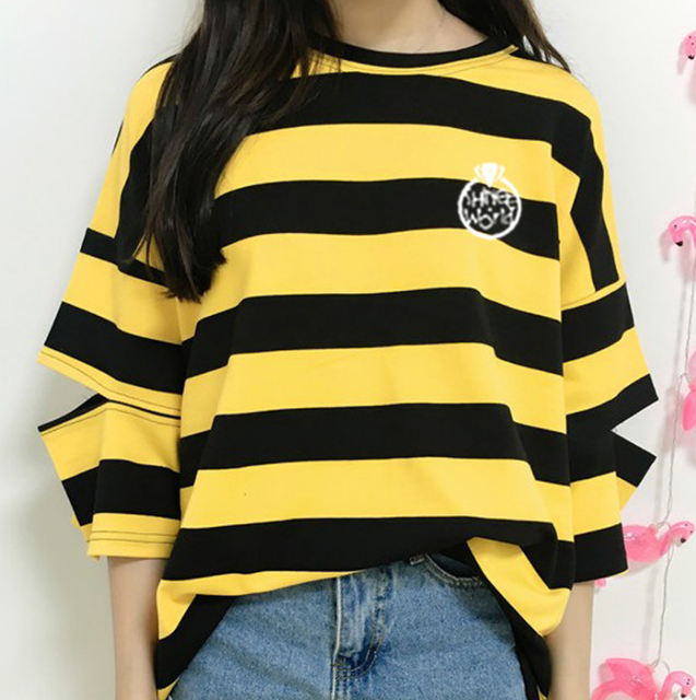 Shinee Striped Cut Out Sleeve Tee